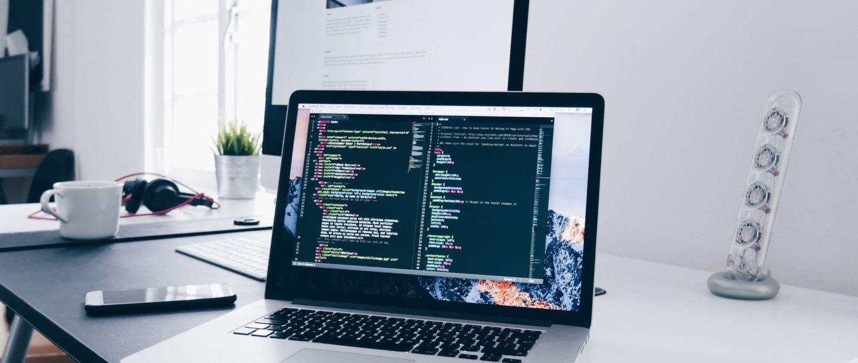 Display showing website code